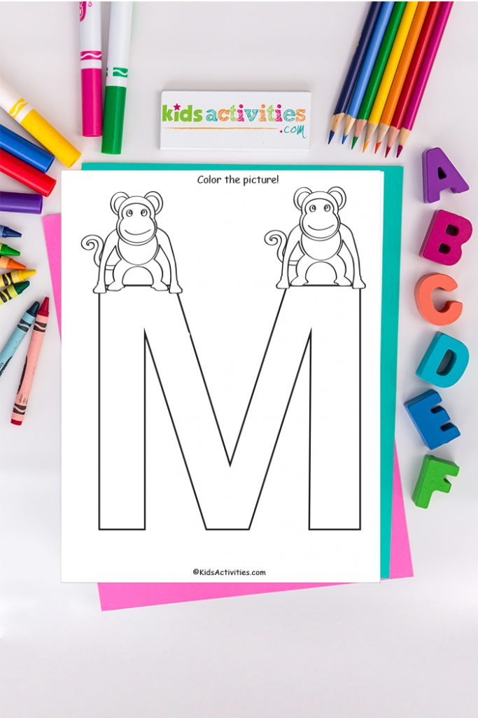 Letter m Coloring Pages - Kids Activities Blog - Capital M with two monkeys on the background of ABCs colored pencils and markers