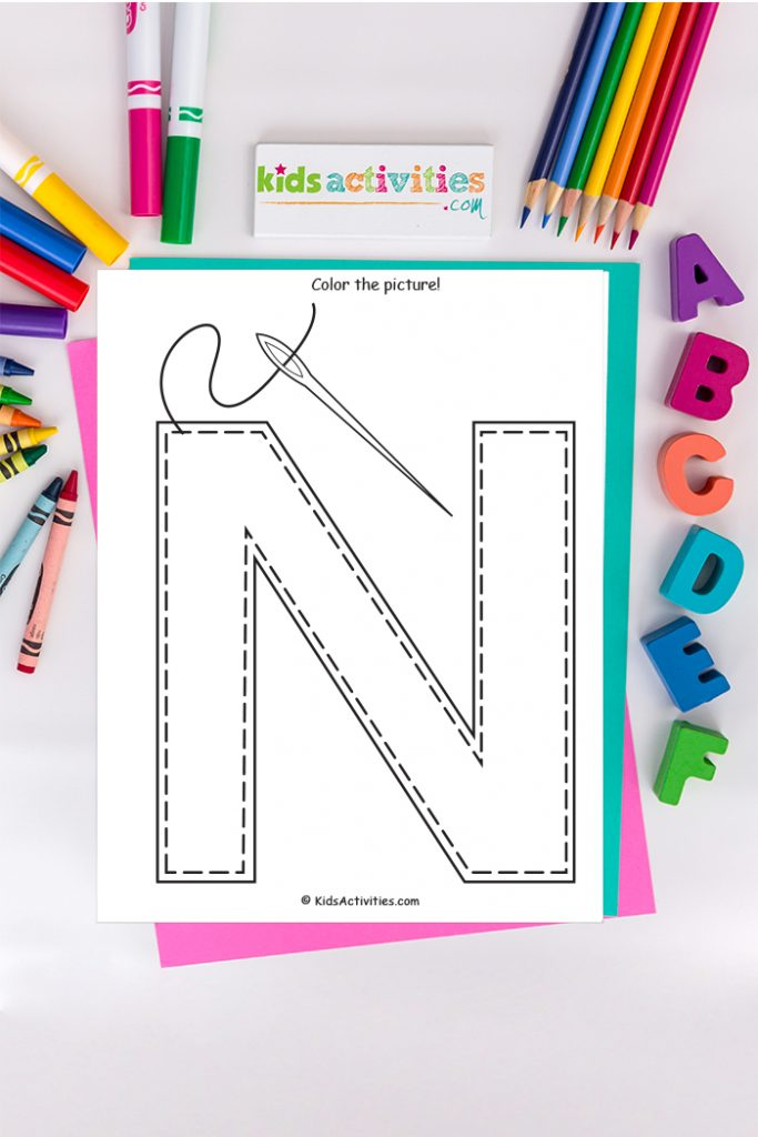 Coloring picture of letter N blog about kids activities