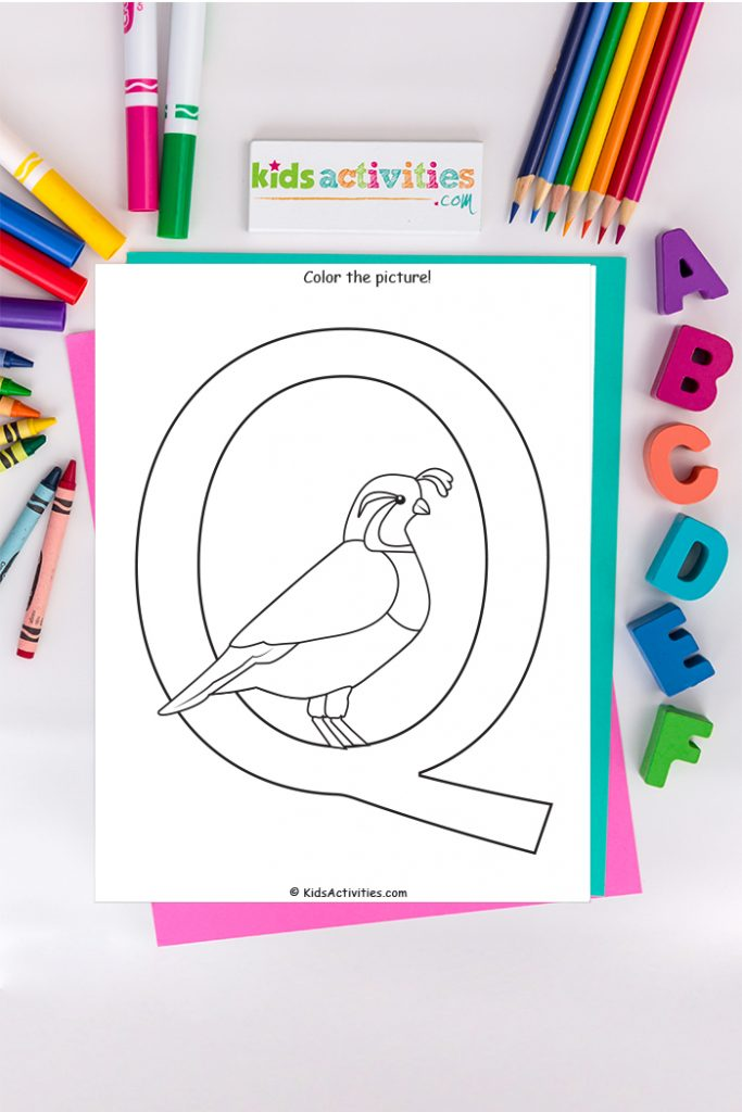 letter Q coloring page Kids Activities Blog - Color the picture captial Q with a quail on background of ABC's pencils and markers