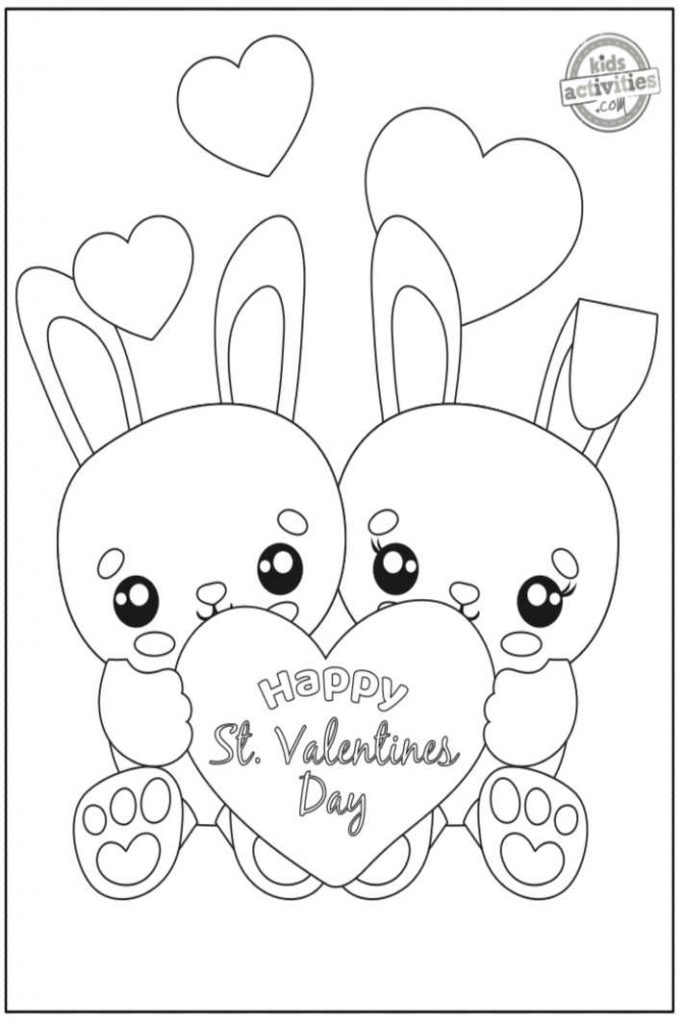 Bunny Valentine coloring page