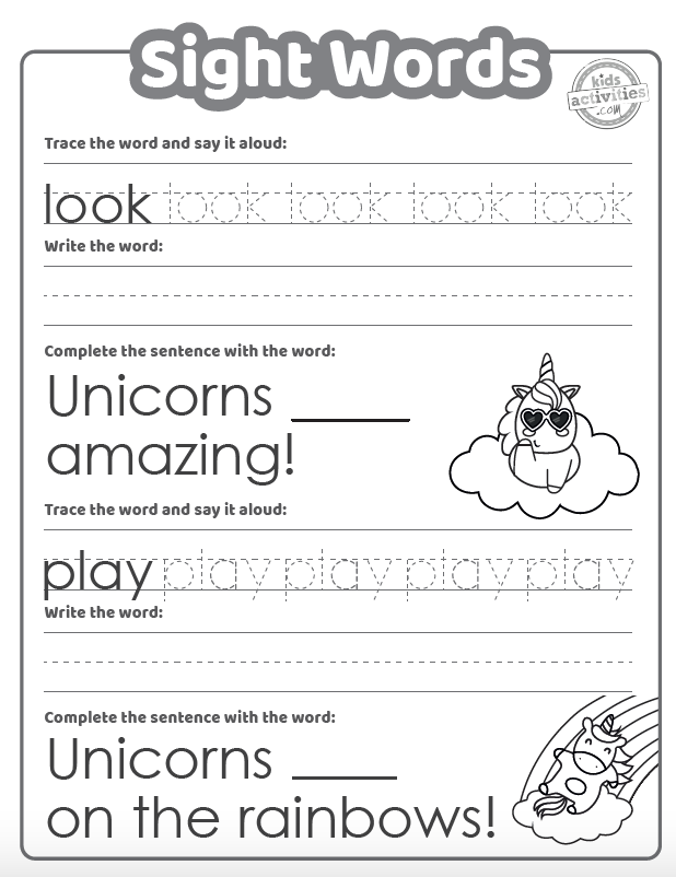 Unicorn sight word coloring sheet with words to trace and a sentence to fill in, interspersed with cute colorable unicorn figures
