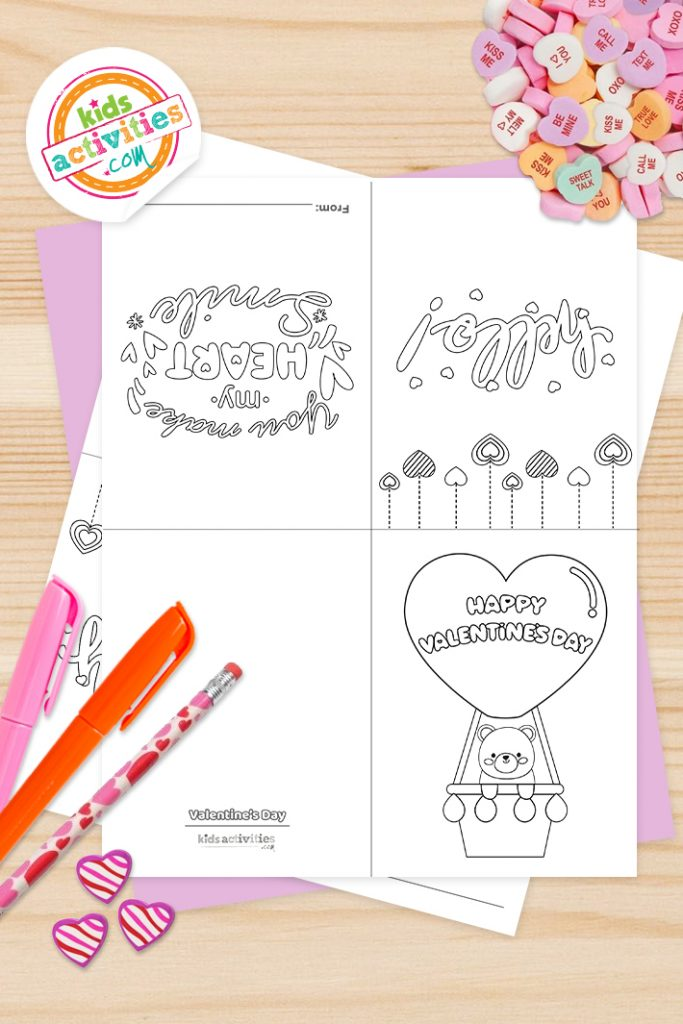 Valentines Cards Coloring Pages