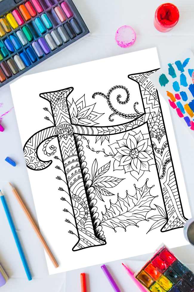 Zentangle alphabet coloring pages - letter h zentangle design on background of paint, colored pencils and art supplies