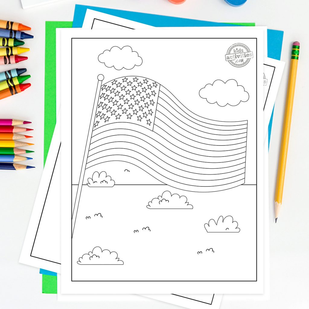 American flag coloring page of a flag over a field