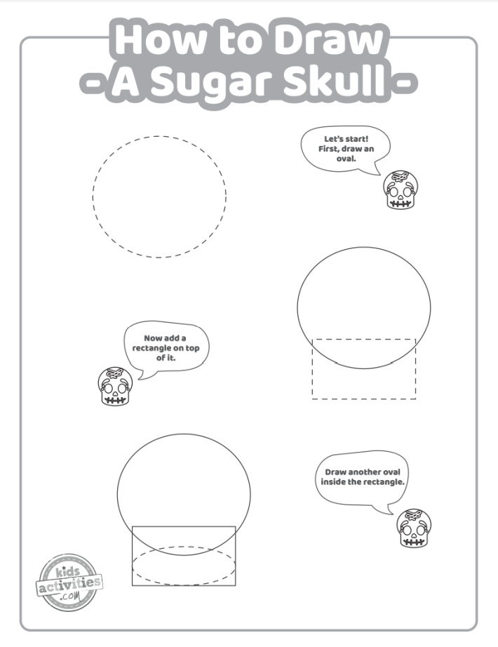 How to draw a sugar skull printable tutorial page 1 with the first three steps for drawing sugar skull - black and white outlines