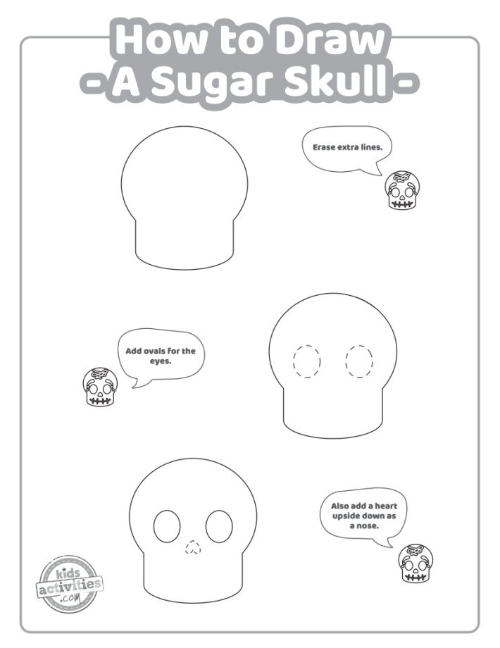 How to draw a sugar skull step by step instructions page 2 for skull drawing.