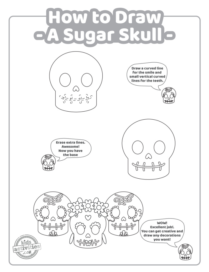 How to Draw a Sugar Skull instructions printable page 3.  The last few steps to complete your skull drawing and decorate it.