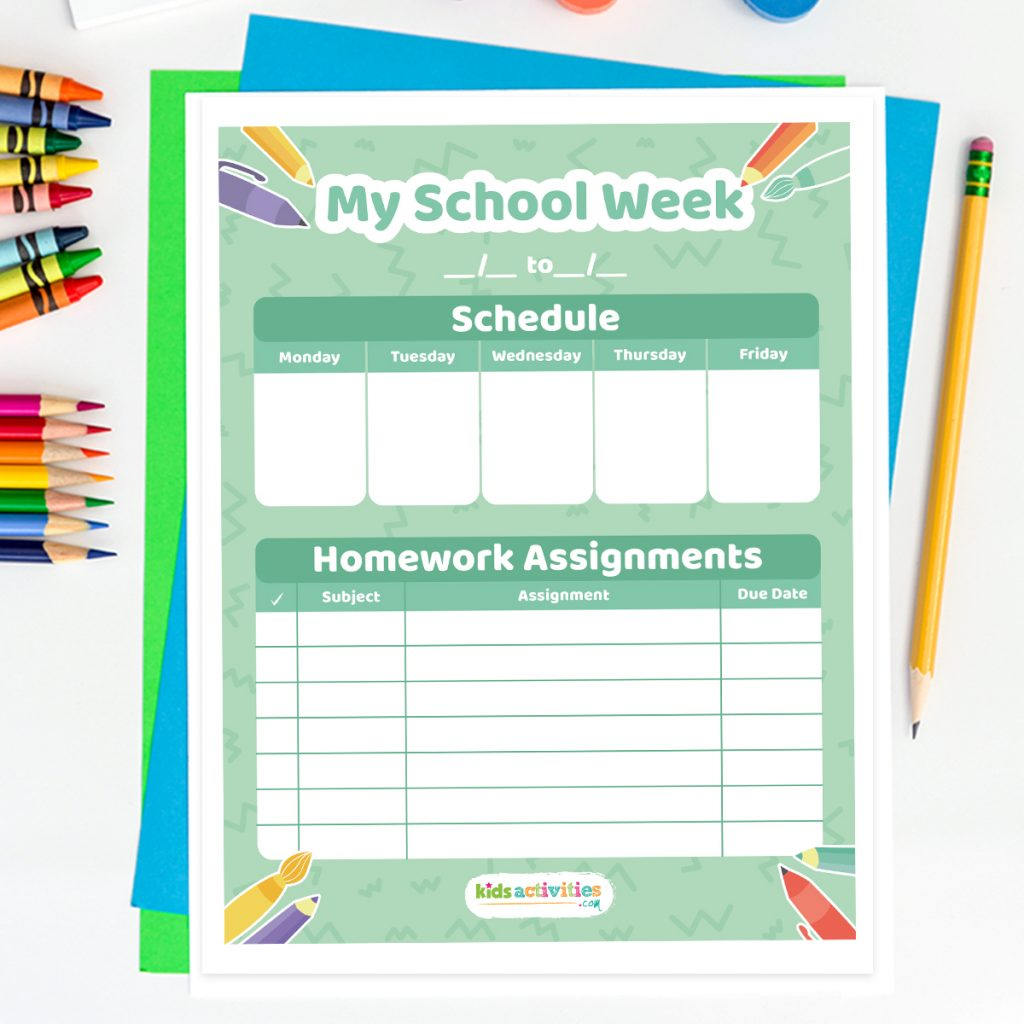 'My School Week' weekly homework calendar page on a desk, surrounded by scattered crayons and pencils