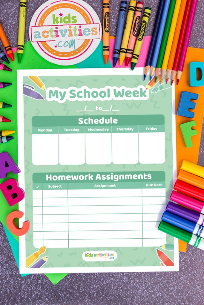 'My School Week' weekly homework calendar page on a desk, surrounded by scattered pencils, markers, crayons and plastic ABC's
