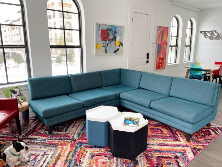 Joybird sectional sofa positioned in new living room