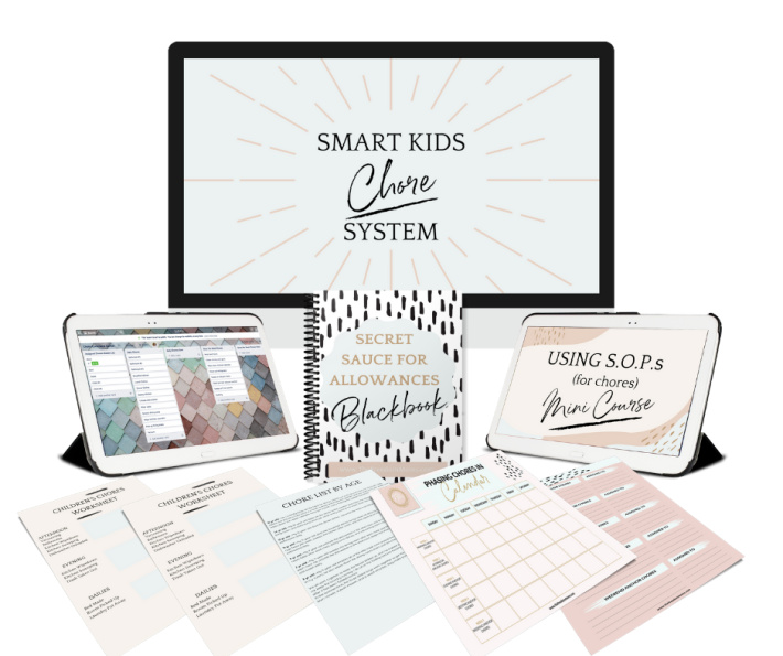Best chore system for kids - Smart Kids Chore System from Ashley Buffa Freedom Moms - Contents shown including charts, allowance information and more