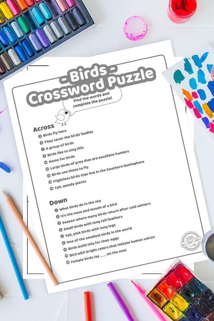 Free Birds Crossword Puzzle for kids