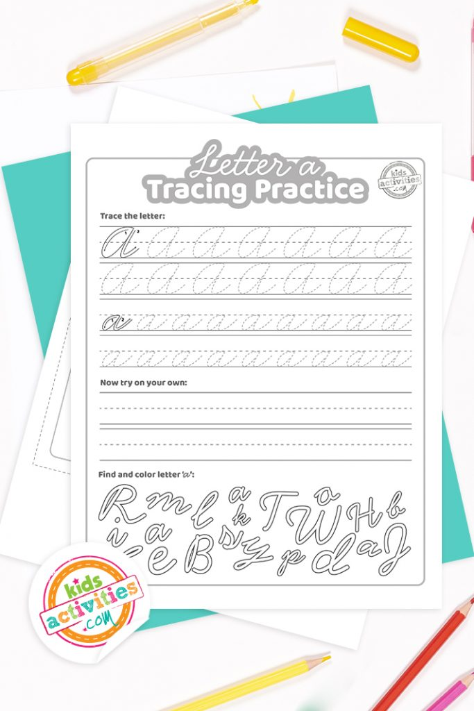 Printed PDF worksheets for italic handwriting exercises for the letter a with colored pencils