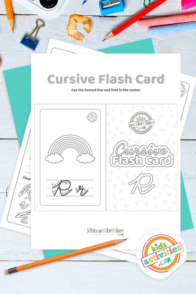 Printable cursive flashcard and writing practice for letter r pdf with pencil