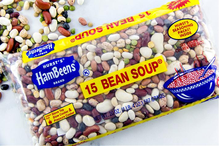 A bag of Hurst's HamBeens 15 bean soup mix.