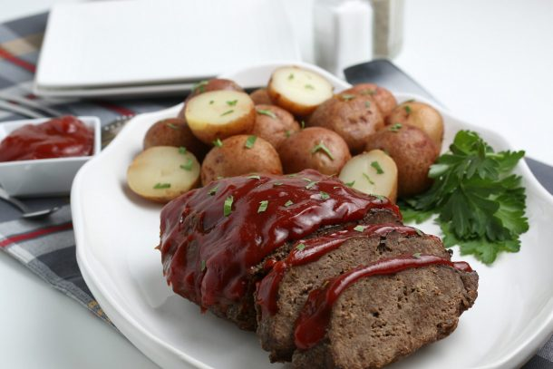 Instant Pot Meatloaf - A heart, flavorful Instant Pot meatloaf, covered with homemade BBQ sauce, served with potatoes