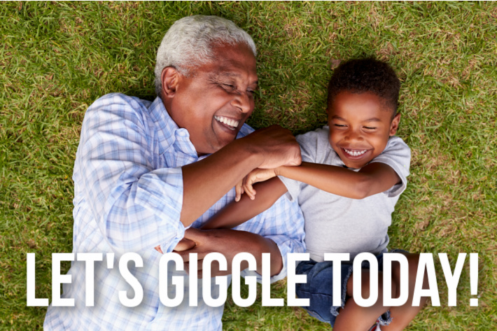 Best pranks for kids - let's giggle today! - grandpa and boy laughing while laying on the grass - Kids Activities Blog