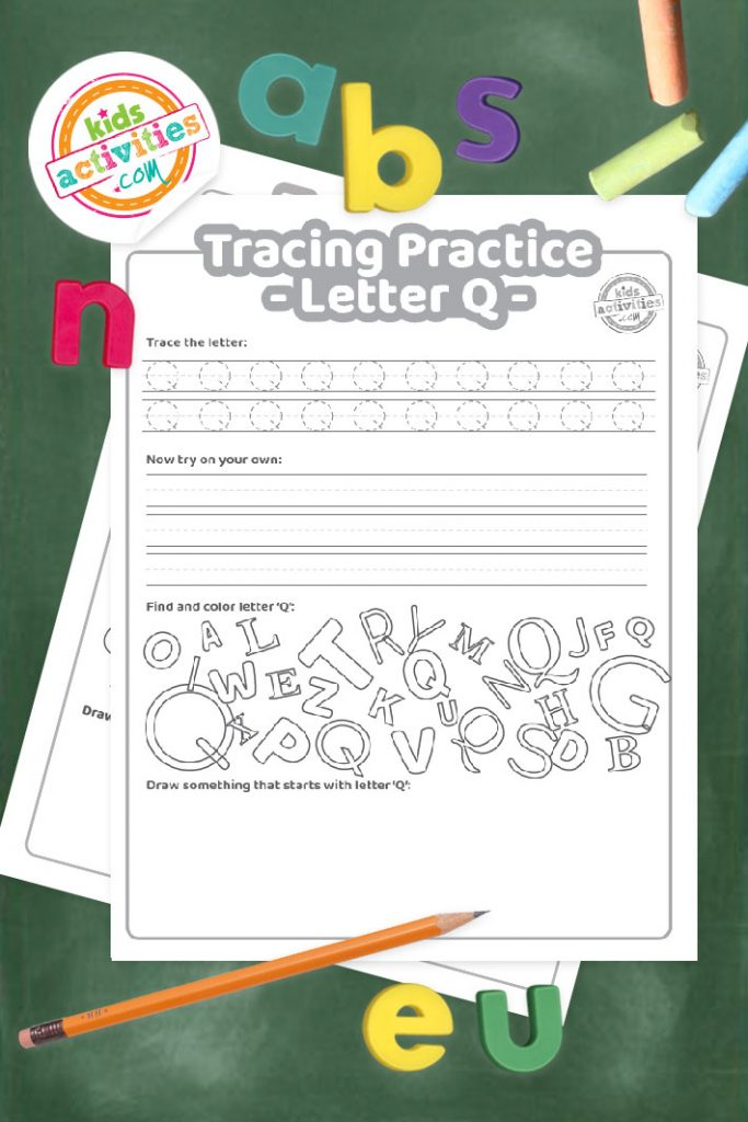 Tracing practice for uppercase and lowercase letter Q printable worksheets - printed pdf shown on dark background with alphabet letters and pencil - Kids Activities Blog