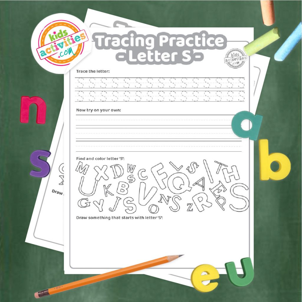 Tracing practice for uppercase and lowercase letter S printable worksheets - printed pdf shown on dark background with alphabet letters and pencil - Kids Activities Blog
