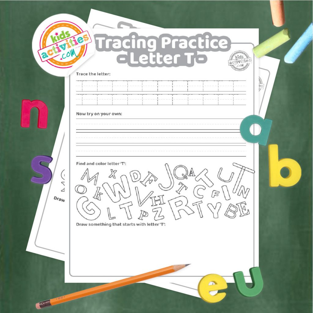 Tracing practice for uppercase and lowercase letter T printable worksheets - printed pdf shown on dark background with alphabet letters and pencil - Kids Activities Blog