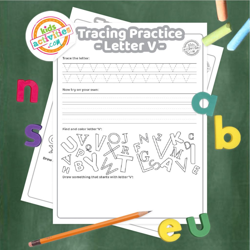 Tracing practice for uppercase and lowercase letter V printable worksheets - printed pdf shown on dark background with alphabet letters and pencil - Kids Activities Blog
