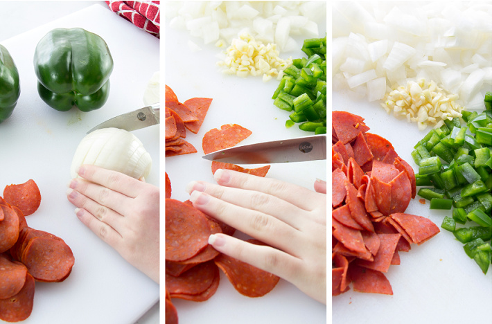 a collage of ingredients to make pizza beans