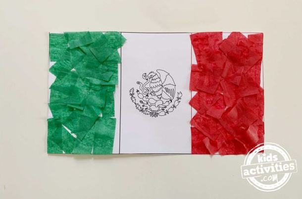 Finished Tissue Paper Flag of Mexico Craft for Kindergartners - Kids Activities Blog