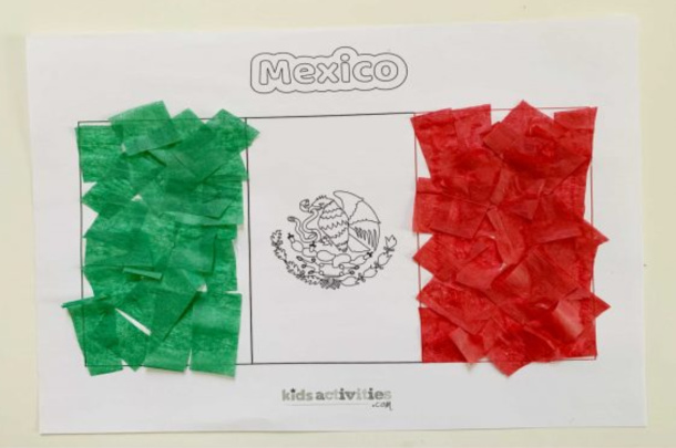 Tissue Paper Flag of Mexico Craft for Kindergartners - Kids Activities Blog