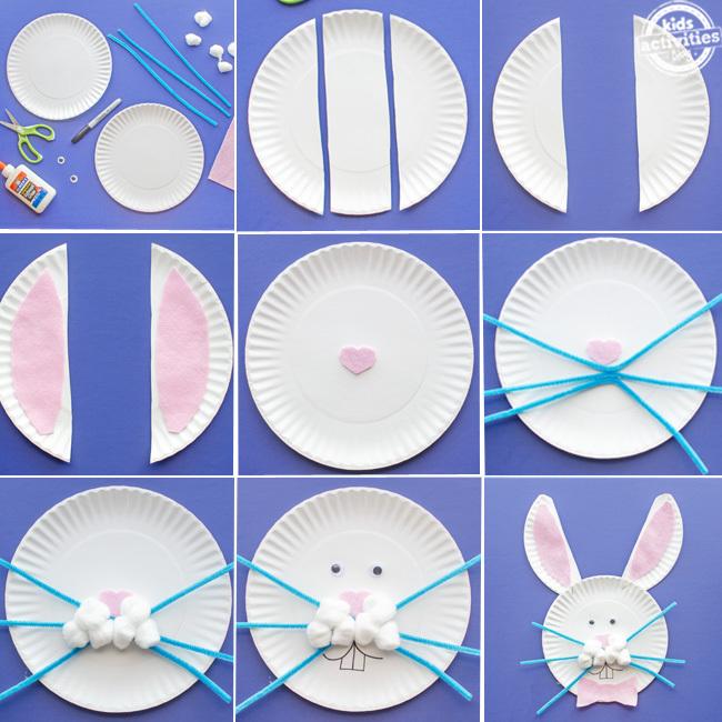 Assiette en carton Étapes d'artisanat de lapin
