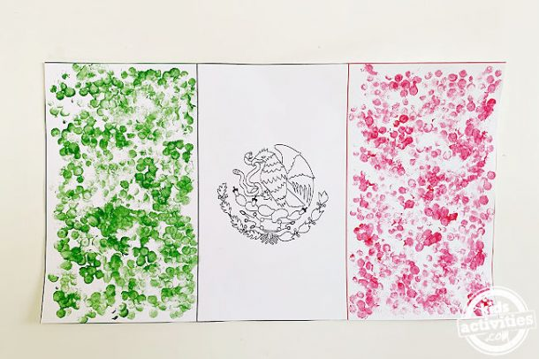 Mexican flag printable made using earbuds stamping shown