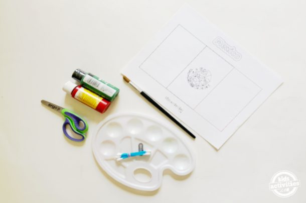 supplies for making mexican flag activity using earbuds stamping method which includes washable paints, earbuds, paint palette ,, paintbrush, free printable and scissors