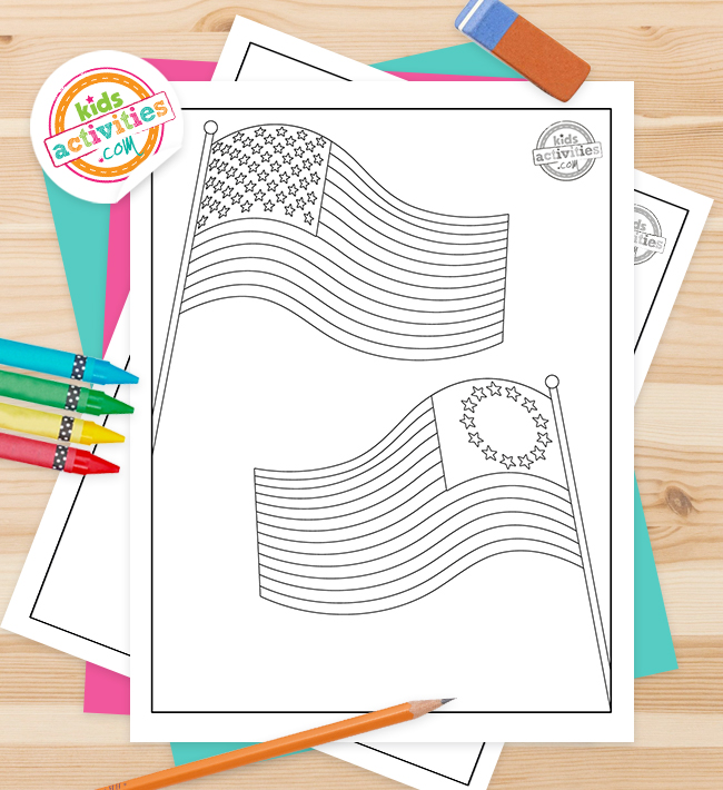 American flag coloring page feature image