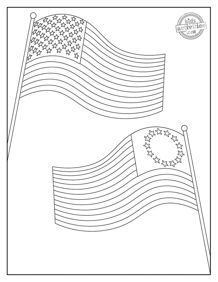 American flag coloring page screenshot 2
