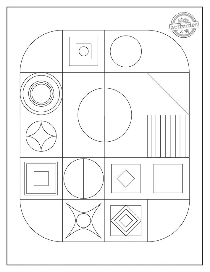 Geometric coloring page screenshot