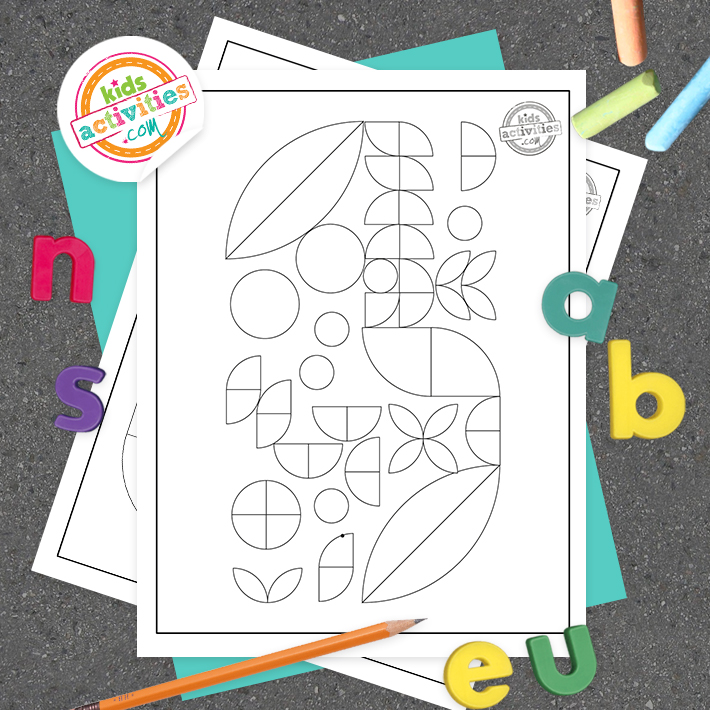 Geometric coloring page square