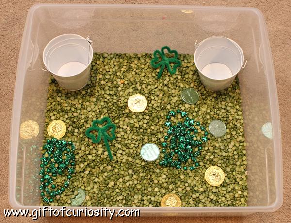 st patricks day sensory bin idea from Gift of Curiosity