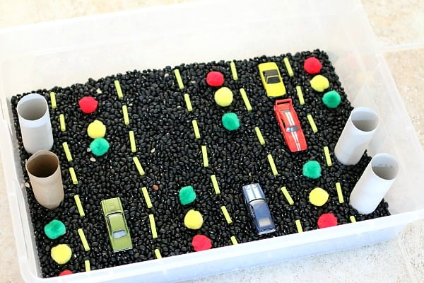 cars theme sensory bin from Buggy and Buddy