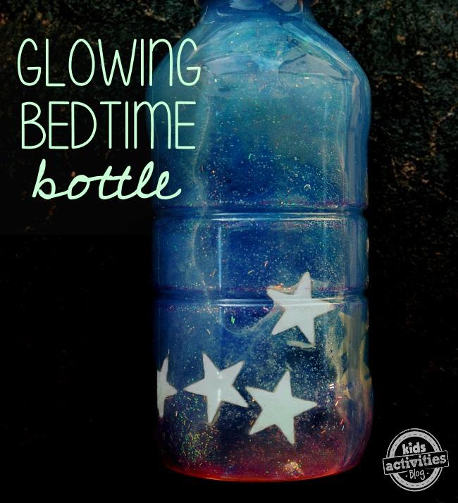 sensory bottle for bedtime from Kids Activities Blog - glowing bedtime bottle