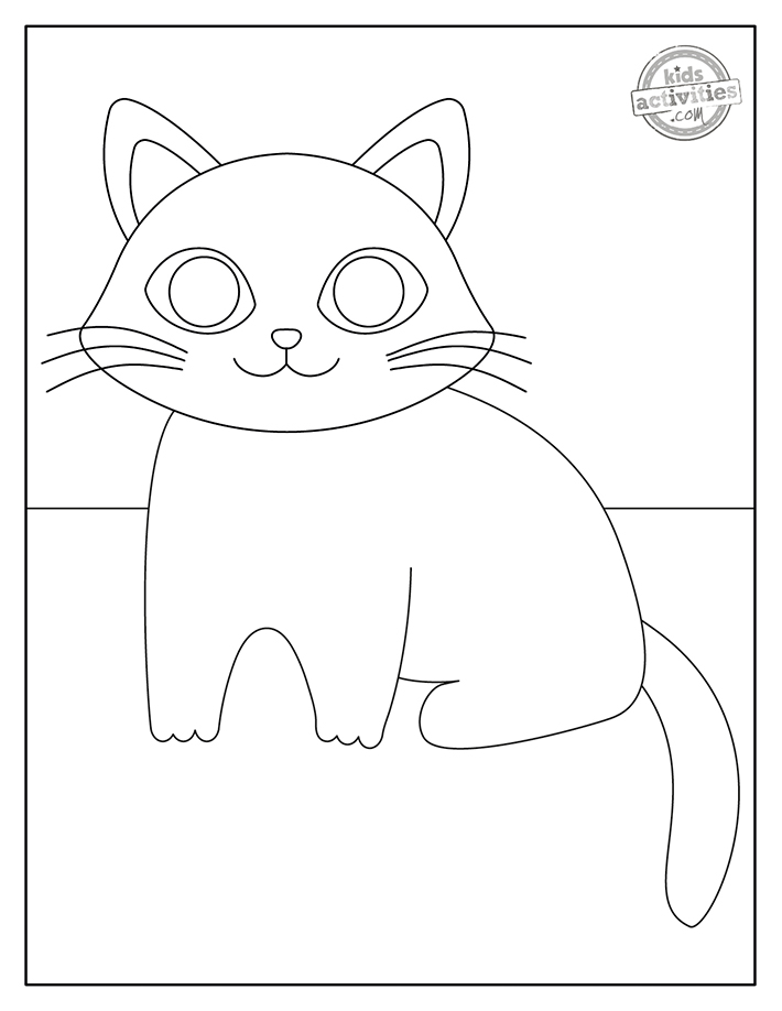 Black kitty coloring page