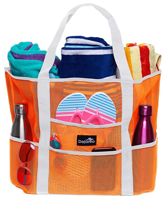 Bolsa de malla para piscina con múltiples bolsillos para teléfonos, toallas, chanclas, botella de agua y más