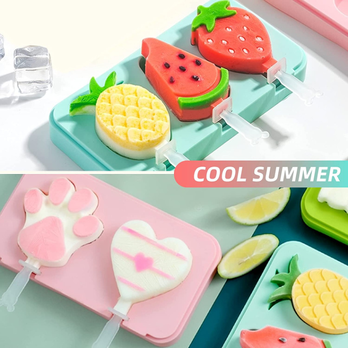 Silicone Popsicle Mold 2-Pack Watermelon Pineapple Paw and Heart