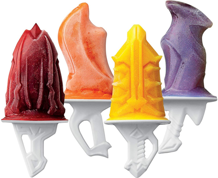 tovolo sword Ice Pop shapes from Amazon - four popsicles shown with different sword shapes and colors