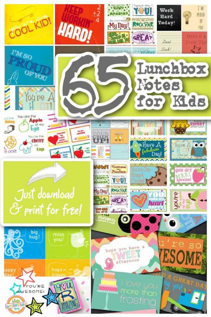 65 Lunchbox Notes for Kids to download and print for free - Kids Activities Blog