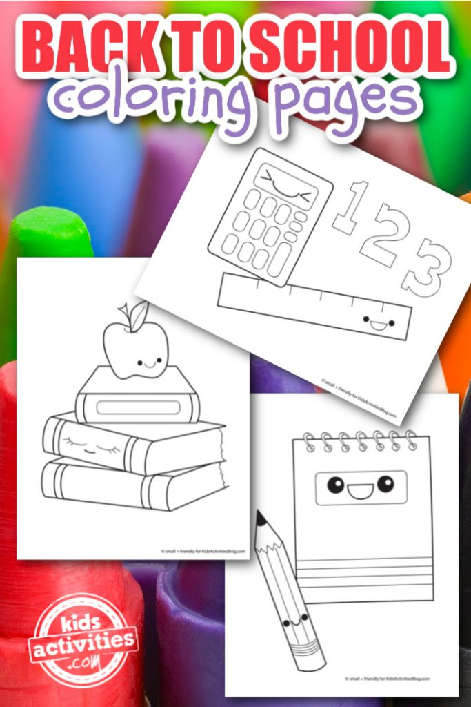 back to school coloring pages printed pdf shown on the background of crayons