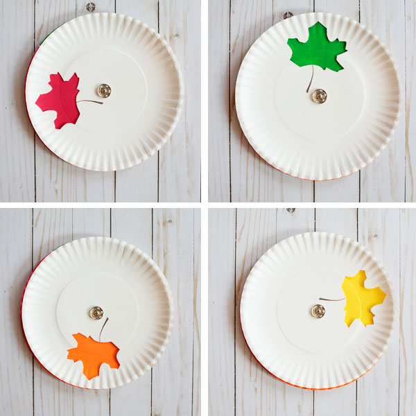 This paper plate color changing leaf craft shown with four colors is from Non Toy gifts