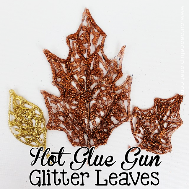 Fall leaf craft shown is 3 leaves created from hot glue gun glitter leaves from Craft Your Happiness