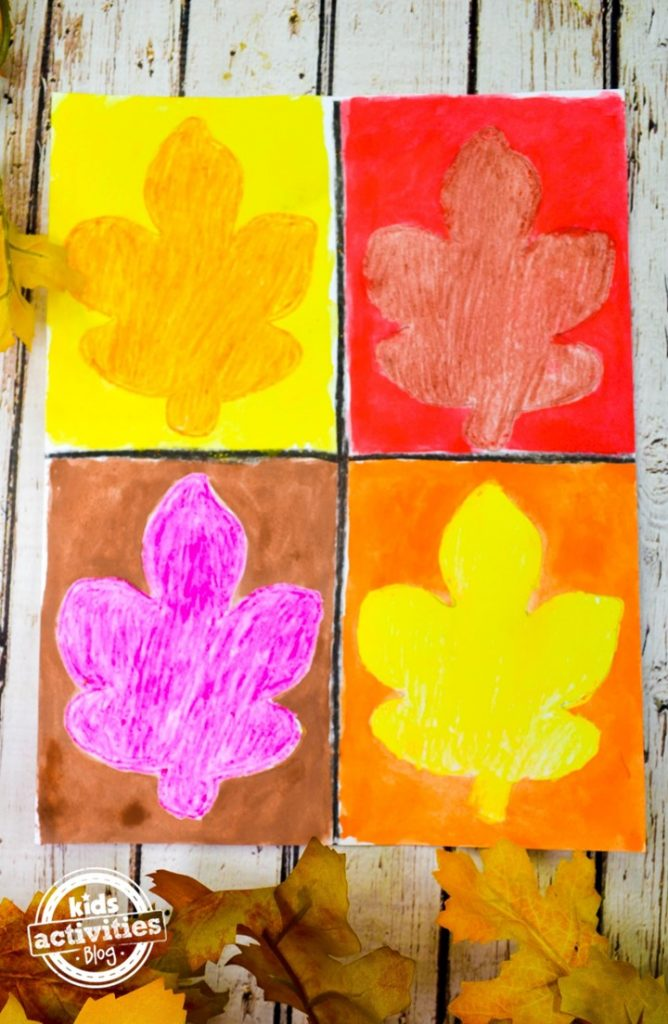 Warhol inspired leaf art for kids from Kids Activities Blog - finished leaf painting shown on white background