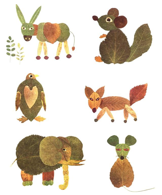 Fall leaf crafts to make fall leaf animals from Kokoko Kids - 6 animal leaf crafts shown