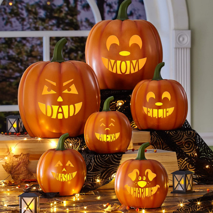 Personalized no carve pumpkin family image from Amazon - Kids Activities Blog