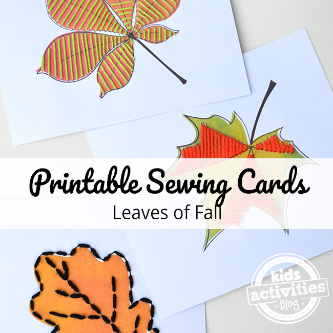 Printable leaf sewing cards craft for kids to download, print and sew